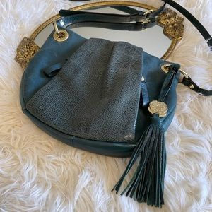 Vince Camuto green leather with gold crossbody bag